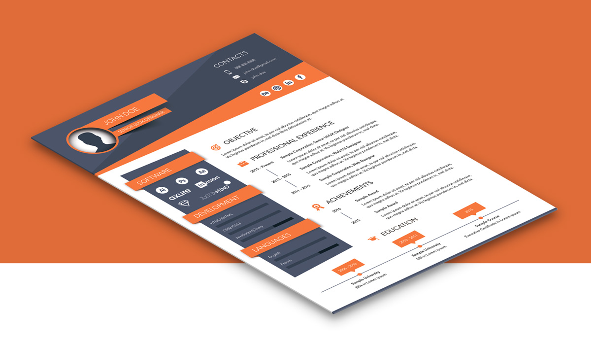 Free Creative Resume (CV) Design Template Ai File (3)