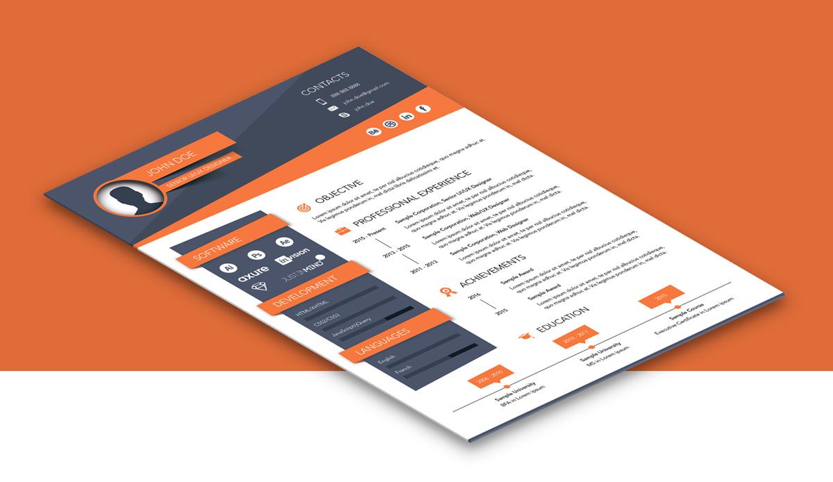 Free Creative Resume (CV) Design Template Ai File (3)