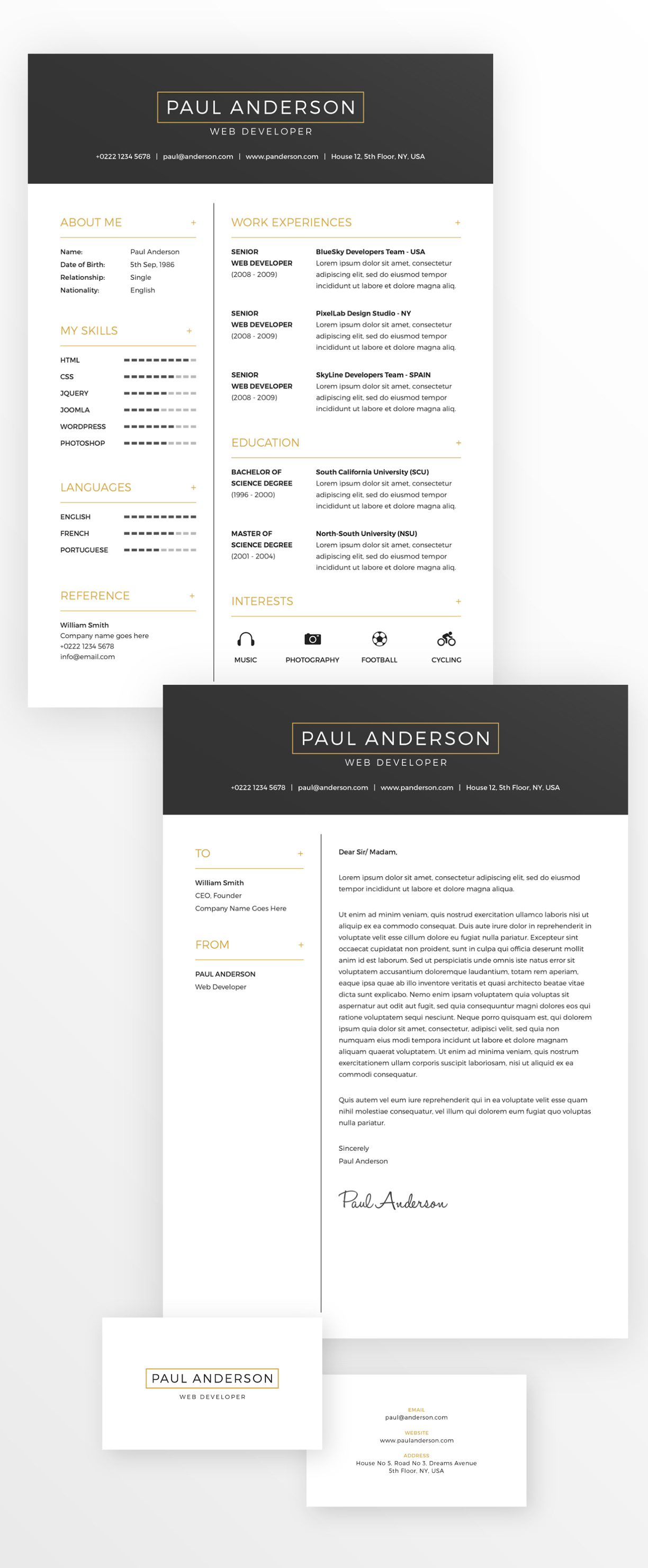 Free Minimal Resume (CV) Design Template With Cover Letter & Business Card Design PSD File (1)