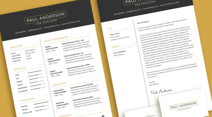 Free Minimal Resume (CV) Design Template With Cover Letter & Business Card Design PSD File
