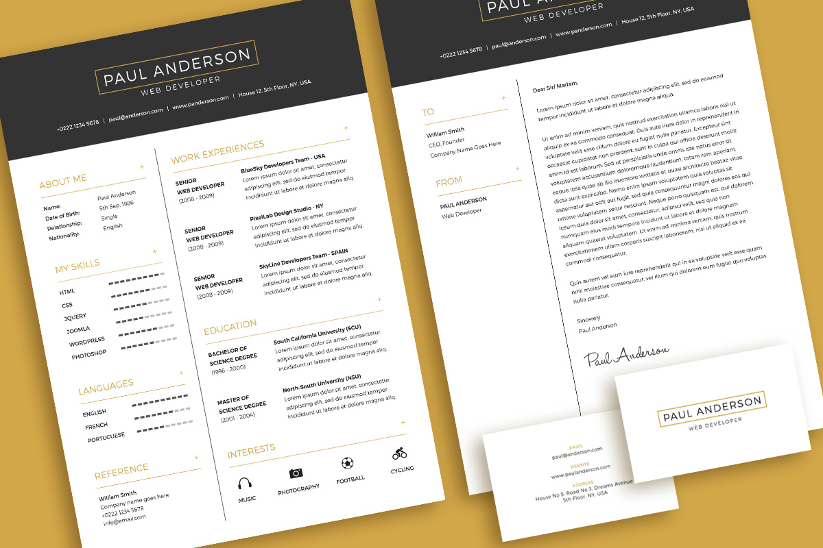 free minimal resume  cv  design template with cover letter  u0026 business card design psd file
