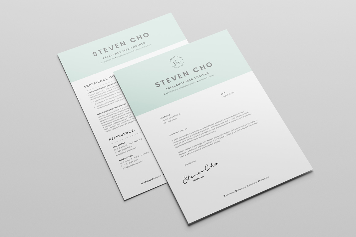 Free Minimalist Resume (CV) Design Template With Cover Letter In DOC & Indesign (1)