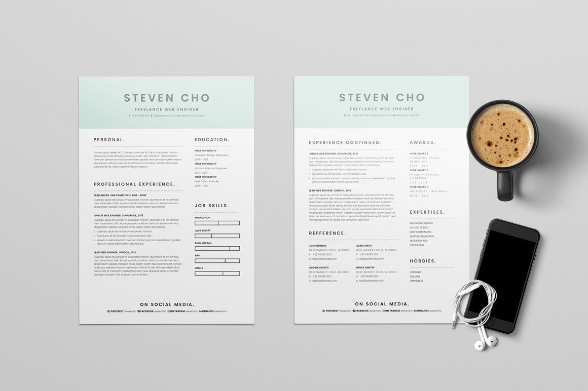 Free Minimalist Resume CV Design Template With Cover Letter In DOC InDesign