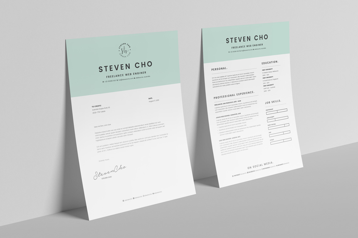 Free Minimalist Resume Cv Design Template With Cover Letter In Doc