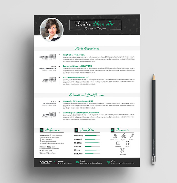 Free Professional Resume (CV) Design Template With Cover Letter PSD Files (2)
