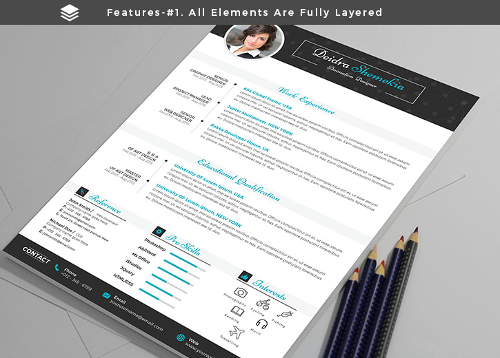 Free Professional Resume (CV) Design Template With Cover Letter PSD Files (3)