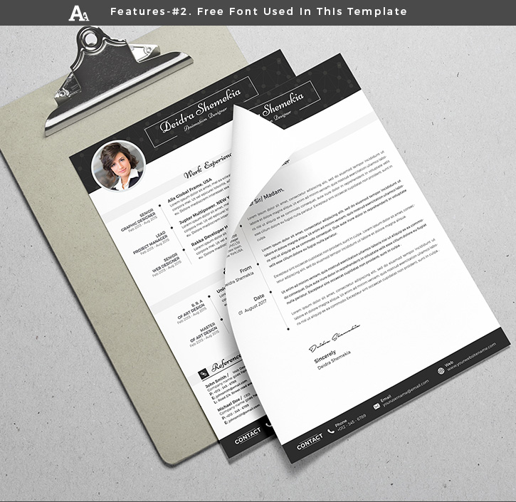 Free Professional Resume (CV) Design Template With Cover Letter PSD Files (4)