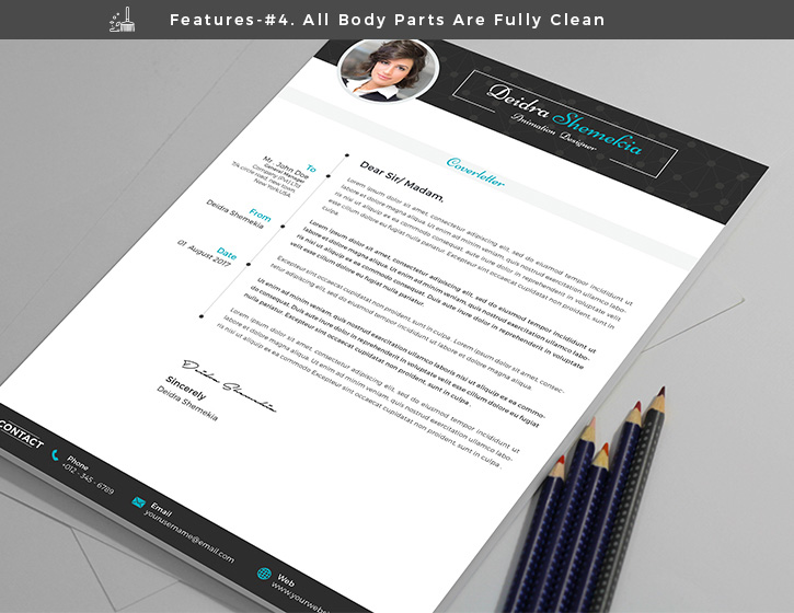 Free Professional Resume (CV) Design Template With Cover Letter PSD Files (6)