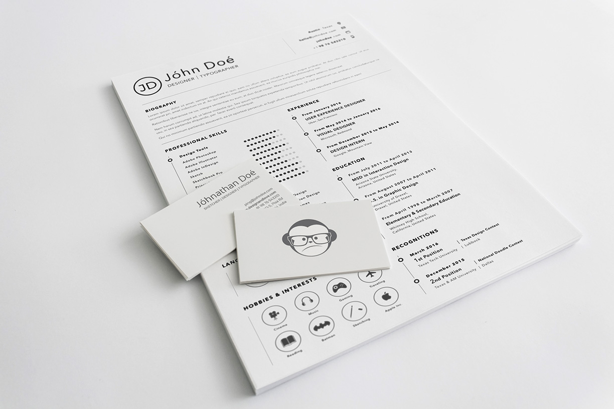 Free Simple Clean Resume CV Design Template Sketch File