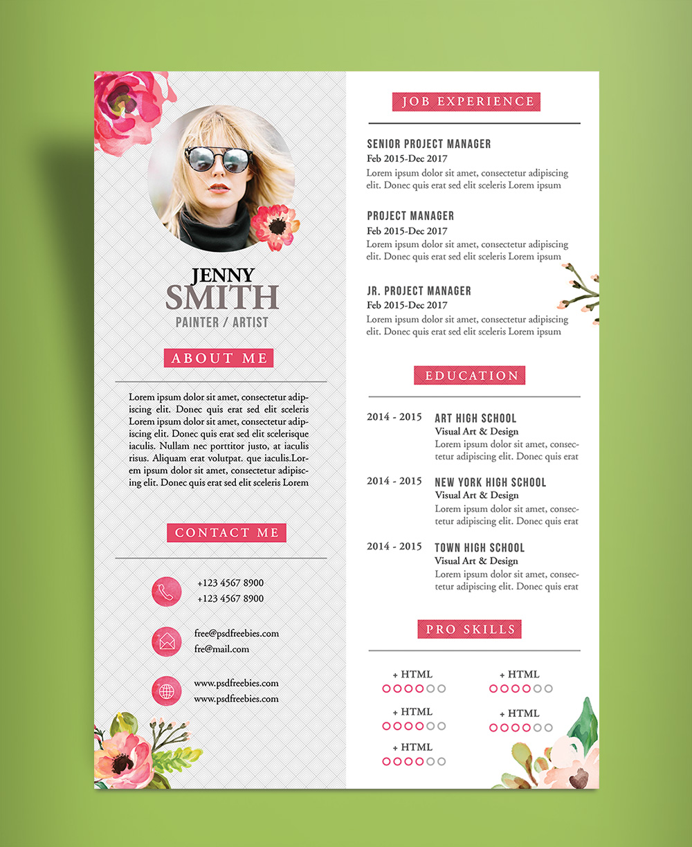 free artistic resume  cv  design template psd file