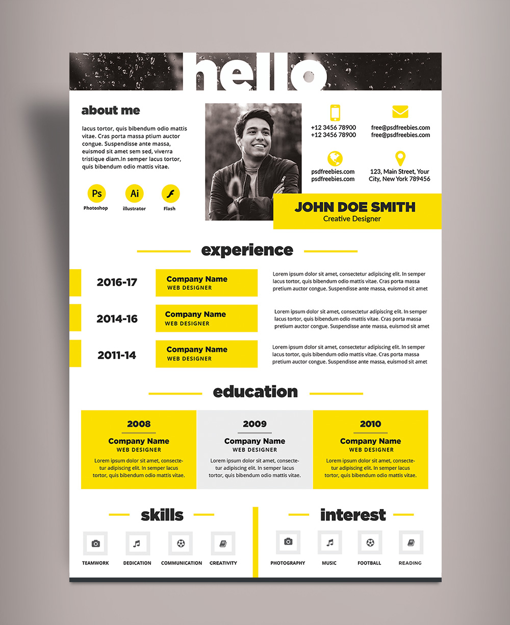 Free Creative Resume (CV) Design Template PSD File (2)