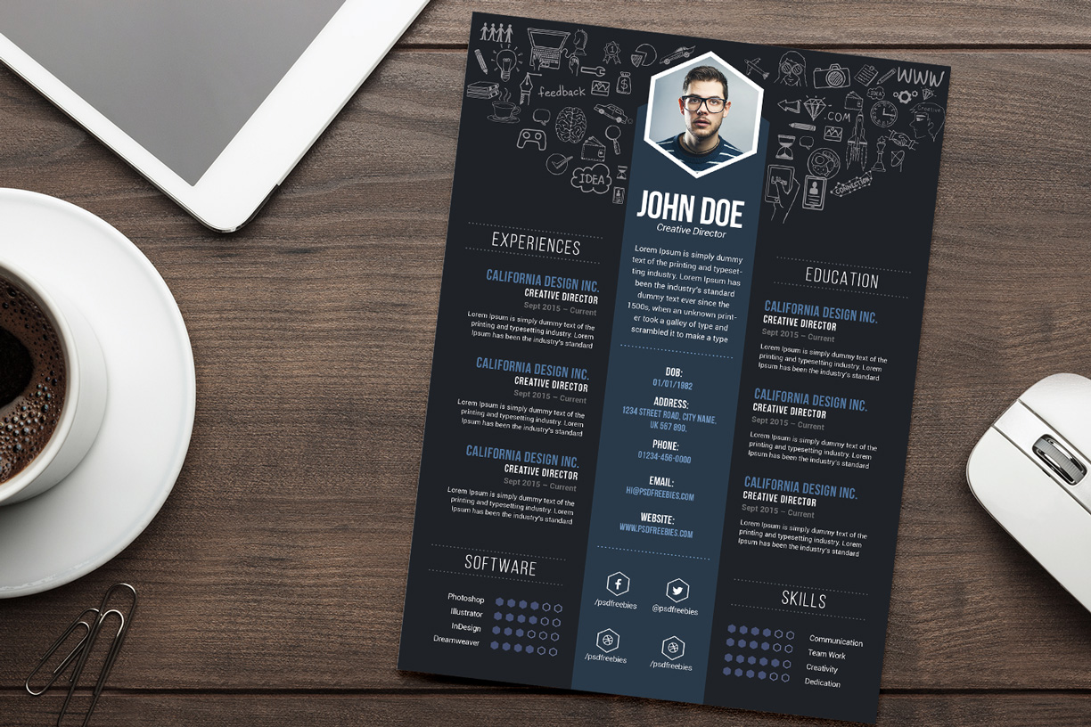 Free Creative Resume (CV) DesignTemplate PSD File ...  Creative Resume