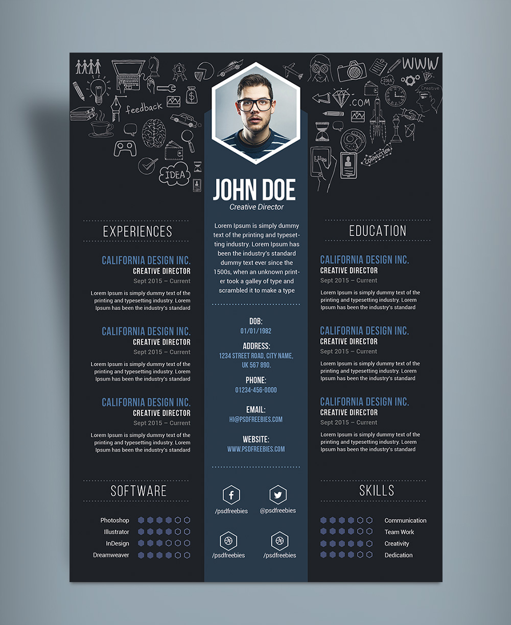 free creative resume cv designtemplate psd file - Creative Resume