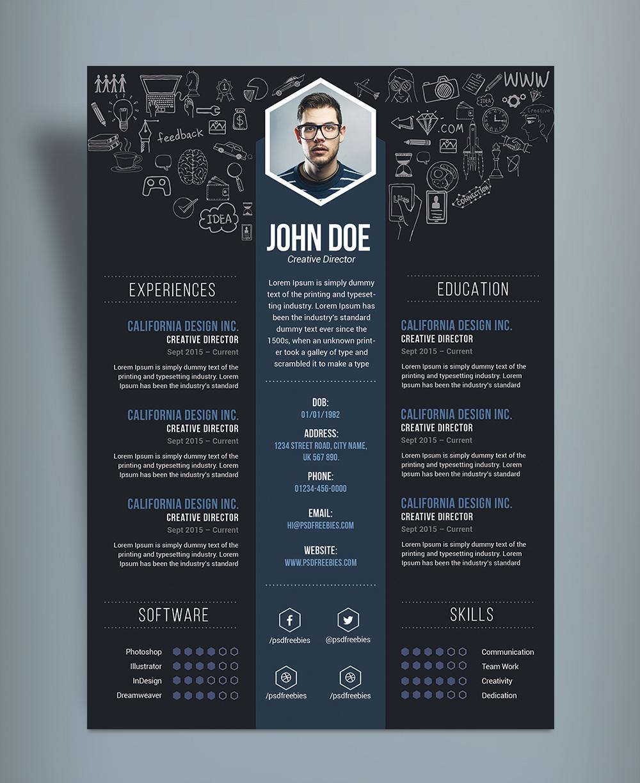 Free-Creative-Resume-(CV)-DesignTemplate-PSD-File-3