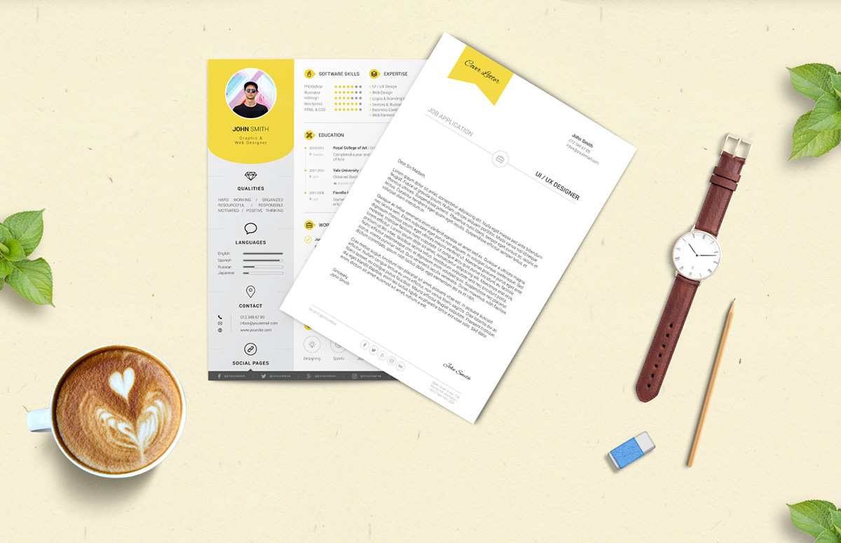 free professional resume cv design template with cover letter psd files - Professional Resume And Cover Letter