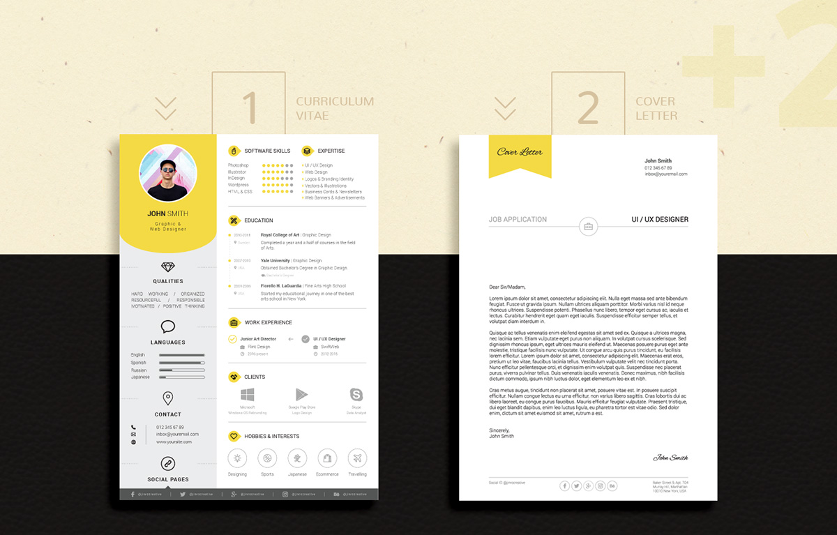 Free Professional Resume (CV) Design Template With Cover Letter PSD ...