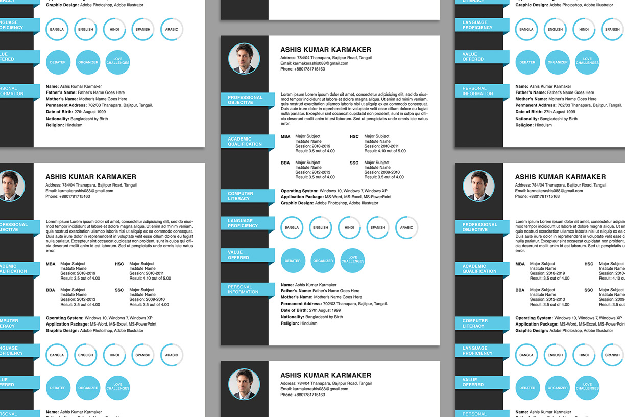 free simple resume  cv  design template psd file
