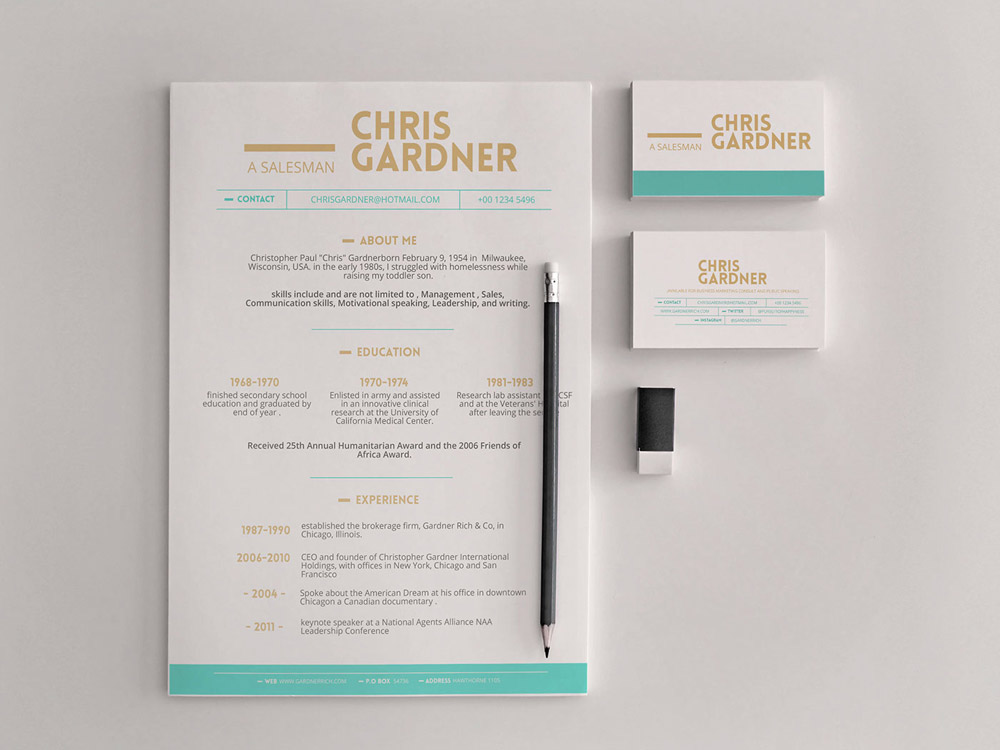 Free Simple Resume (CV) Design Template With Business Card PSD & PPT Files-1