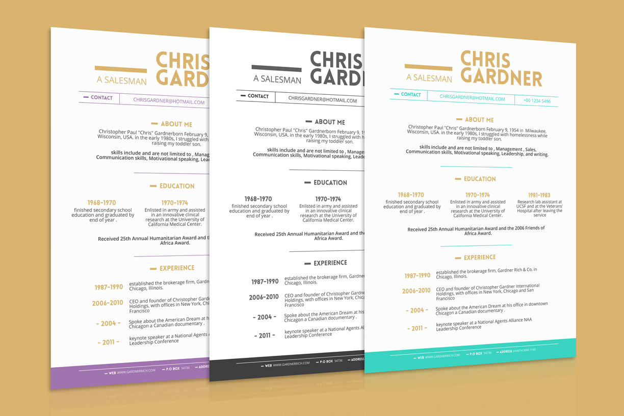 free simple resume  cv  design template with business card