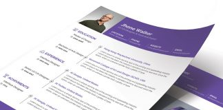 Free Simple Resume (CV) Design Template With Cover Letter Available in 4 Colors PSD Files (1)