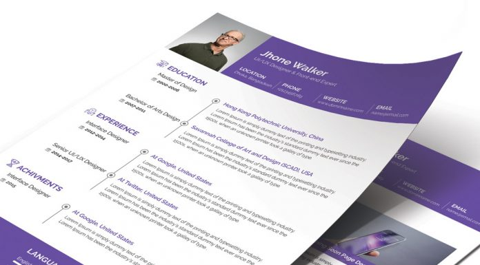free simple resume cv design template with cover letter available in 4 colors psd files