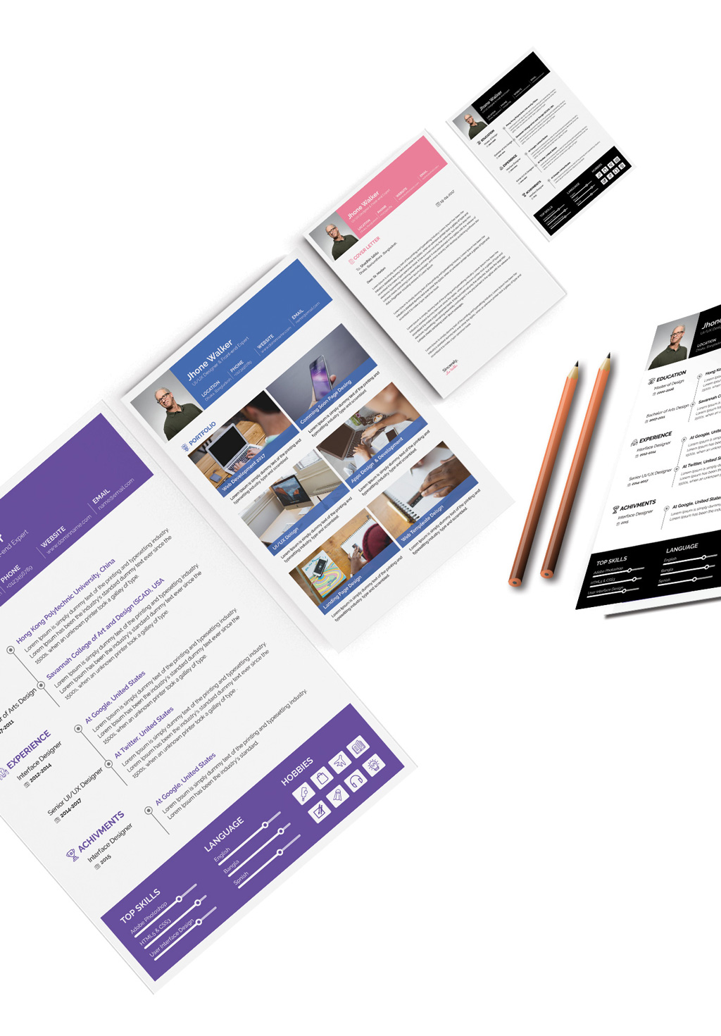 Free Simple Resume (CV) Design Template With Cover Letter Available in 4 Colors PSD Files (4)