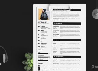 Free Simple Resume (CV) Design Template With Cover Letter & Portfolio Ai File (1)