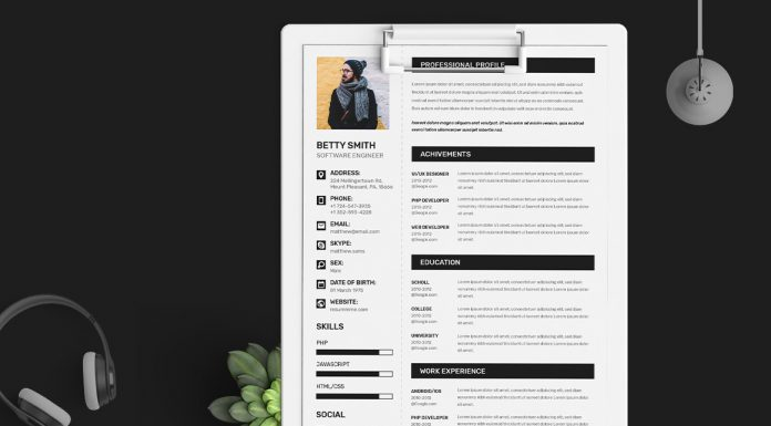 Free Simple Resume (CV) Design Template With Cover Letter & Portfolio Ai File (1)
