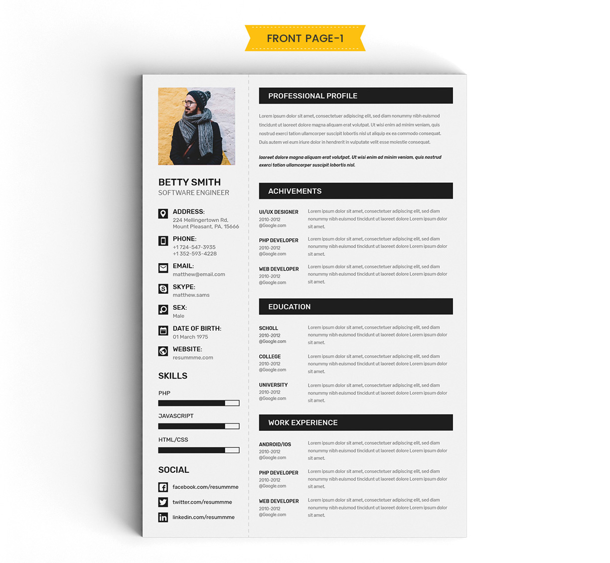 Free Simple Resume (CV) Design Template With Cover Letter & Portfolio Ai File (2)