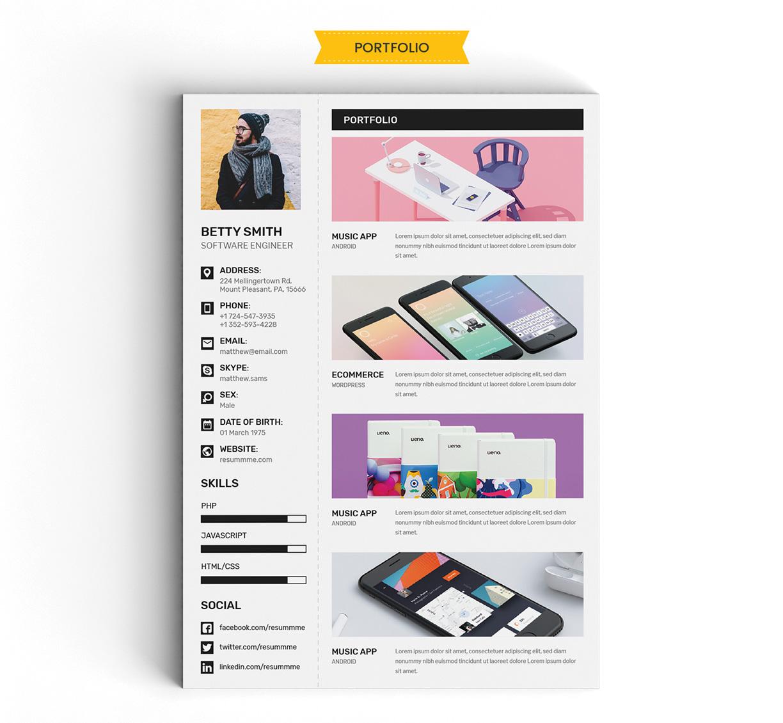 Free Simple Resume (CV) Design Template With Cover Letter & Portfolio Ai File (4)