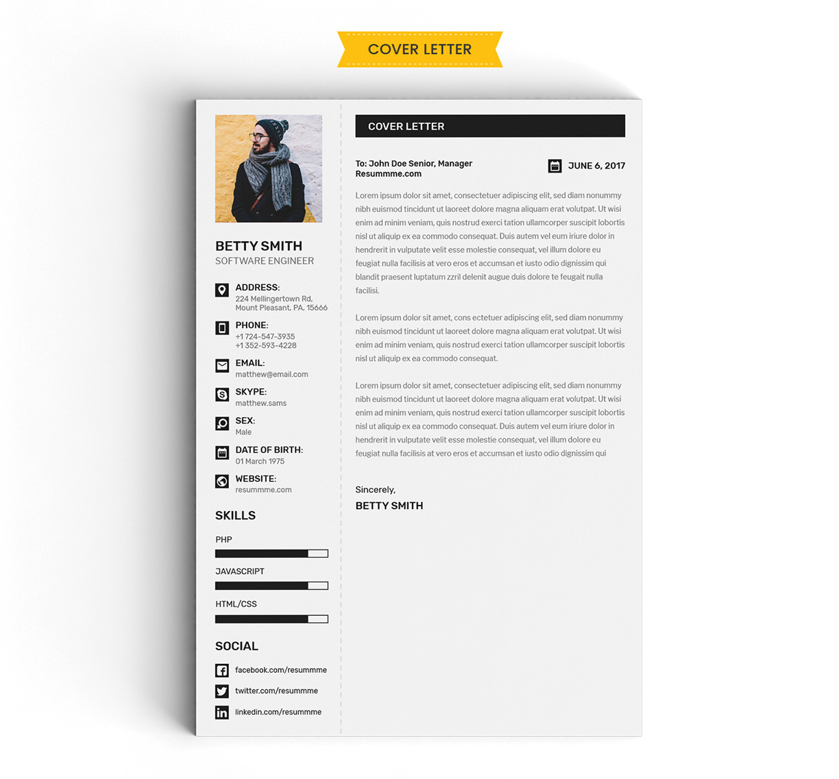 Free Simple Resume (CV) Design Template With Cover Letter & Portfolio Ai File (5)