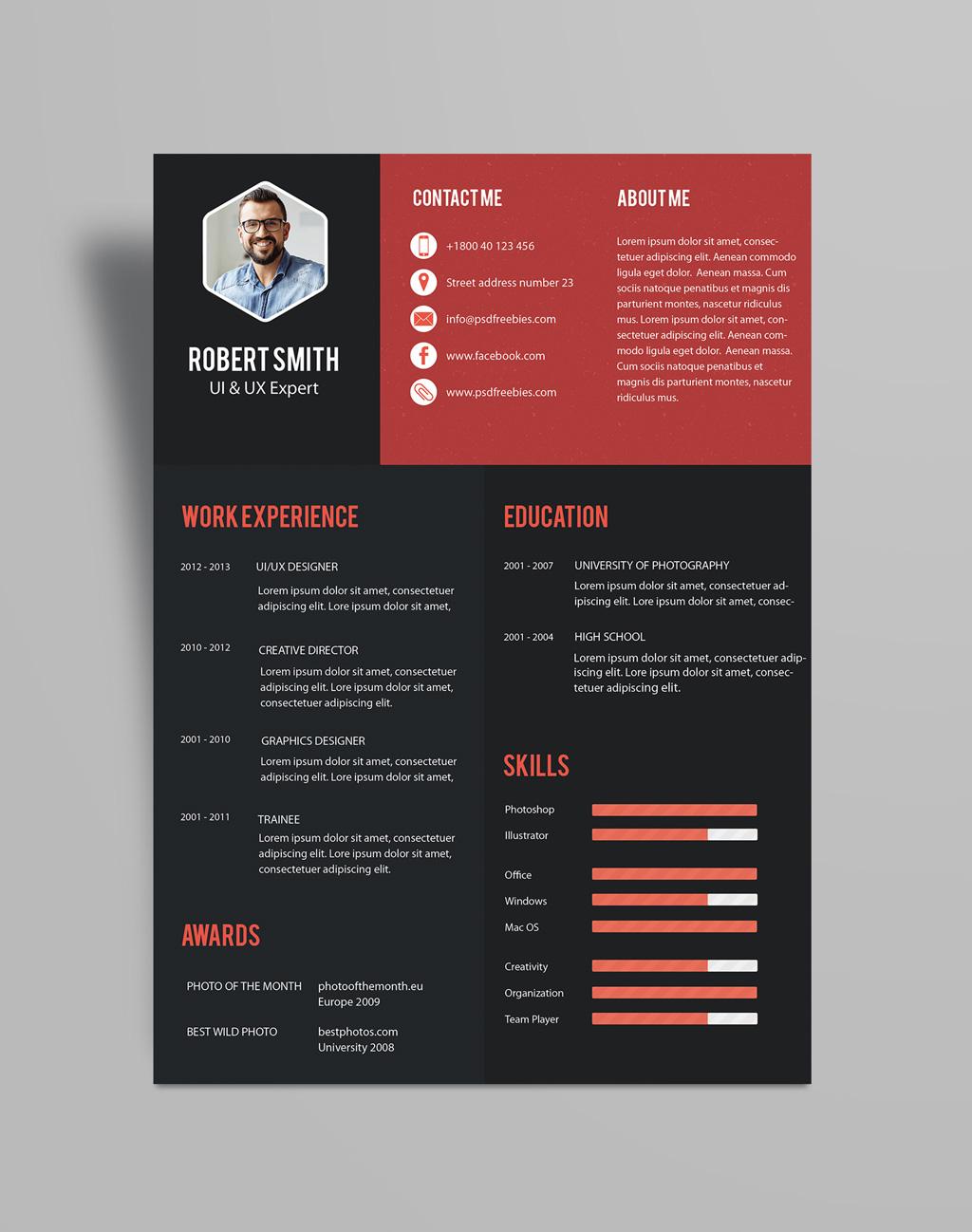 Creative Resume (CV) Design Template PSD File (2)