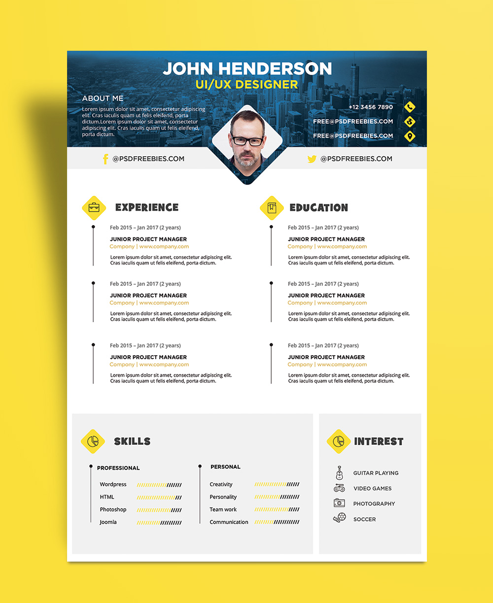 Free Creative Resume Cv Design Template For Ui Ux Designer Psd