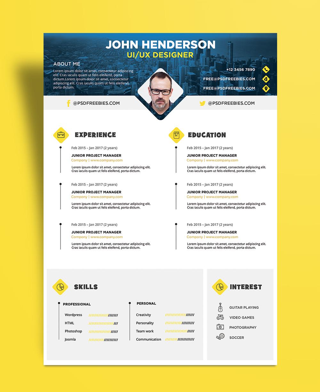 Free Creative Resume (CV) Design Template PSD File-1