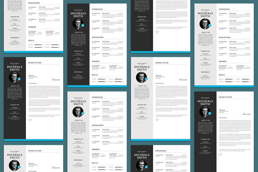 Free Professional Resume (CV) Design With Cover Letter Available in 2 Colors PSD File (1)