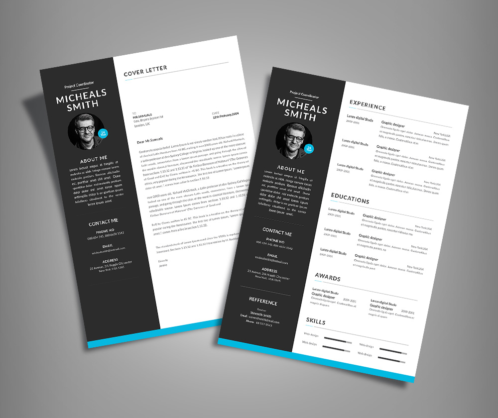 Free Professional Resume (CV) Design With Cover Letter Available In 2  Colors PSD File ...