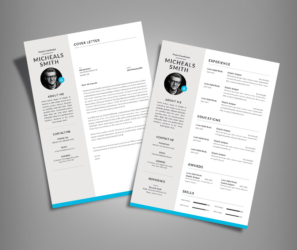 Free Professional Resume (CV) Design With Cover Letter Available in 2 Colors PSD File (3)