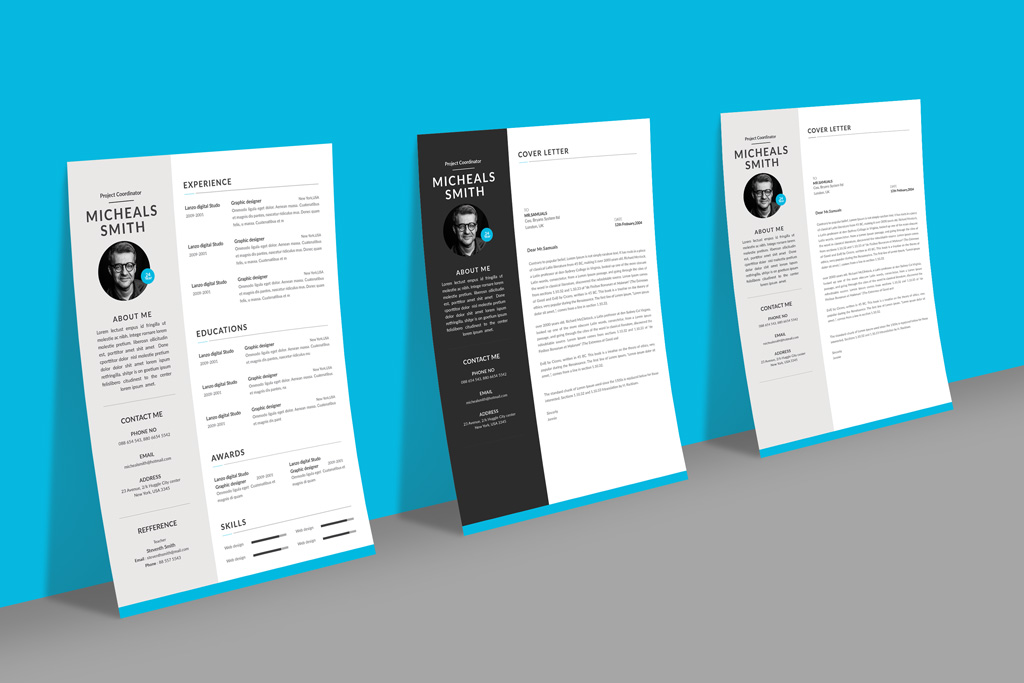 Free Professional Resume (CV) Design With Cover Letter Available in 2 Colors PSD File (4)