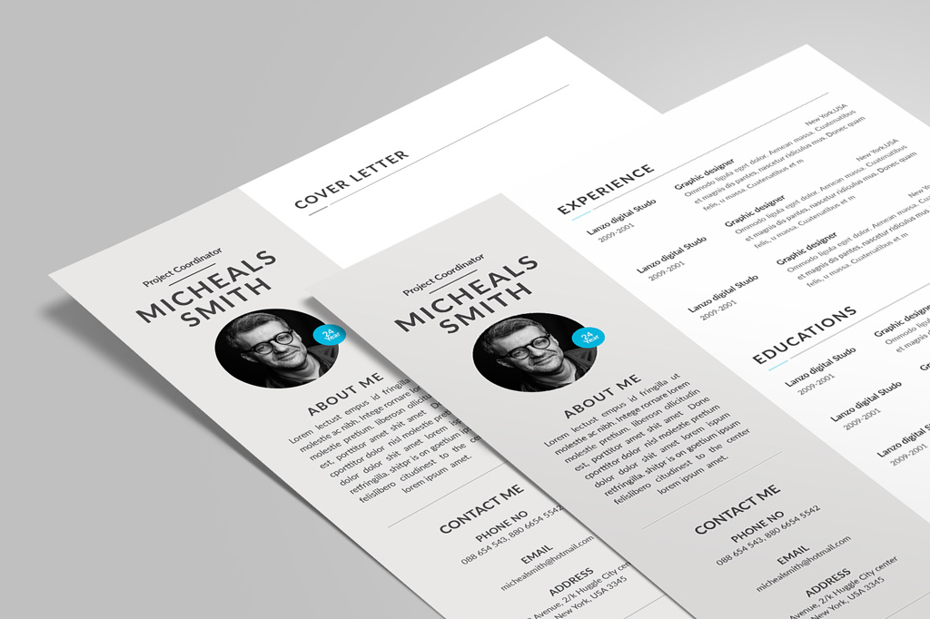 Free Professional Resume (CV) Design With Cover Letter Available in 2 Colors PSD File (5)