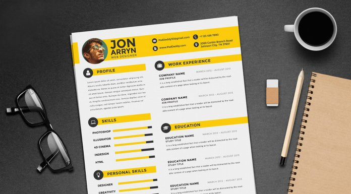 Free Creative Resume (CV) Design Template With 3 Colors PSD