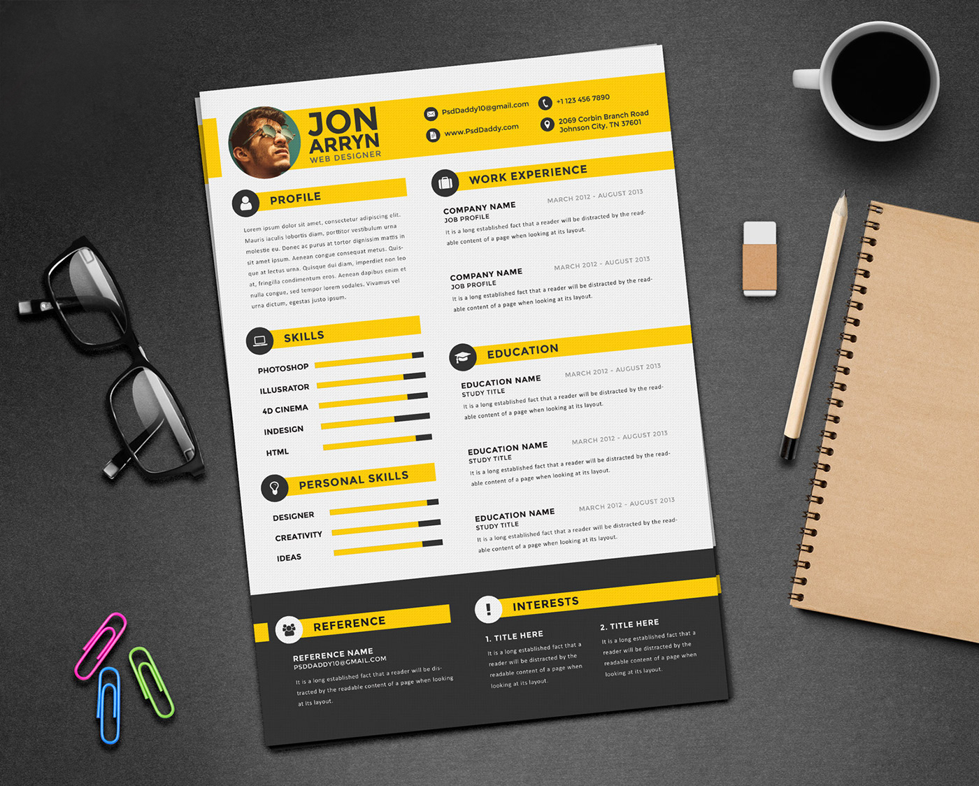 free creative resume  cv  design template with 3 colors psd