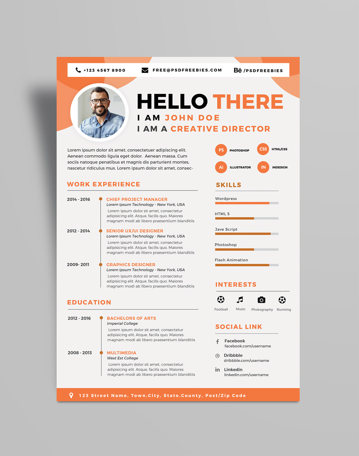 free professional resume  cv  design template psd