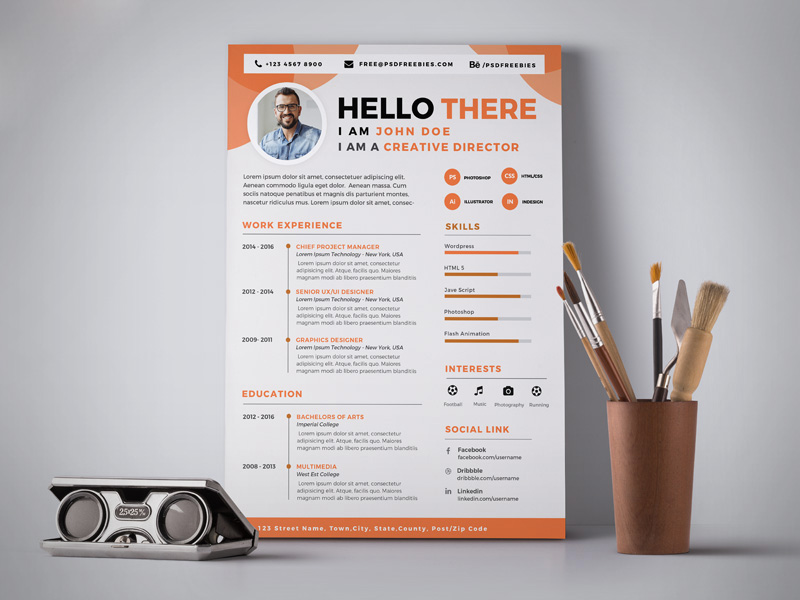 Free Professional Resume  CV  Design Template PSD  Good