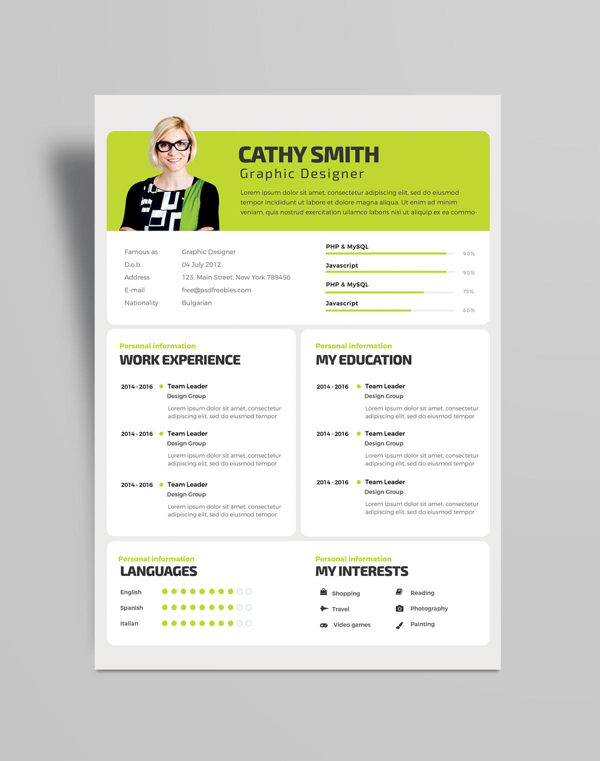 Free Professional Resume Design Template PSD File (2)
