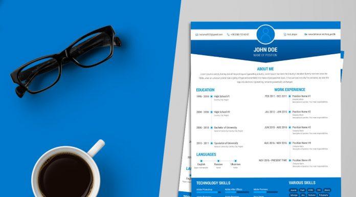 free simple resume cv design template ai file