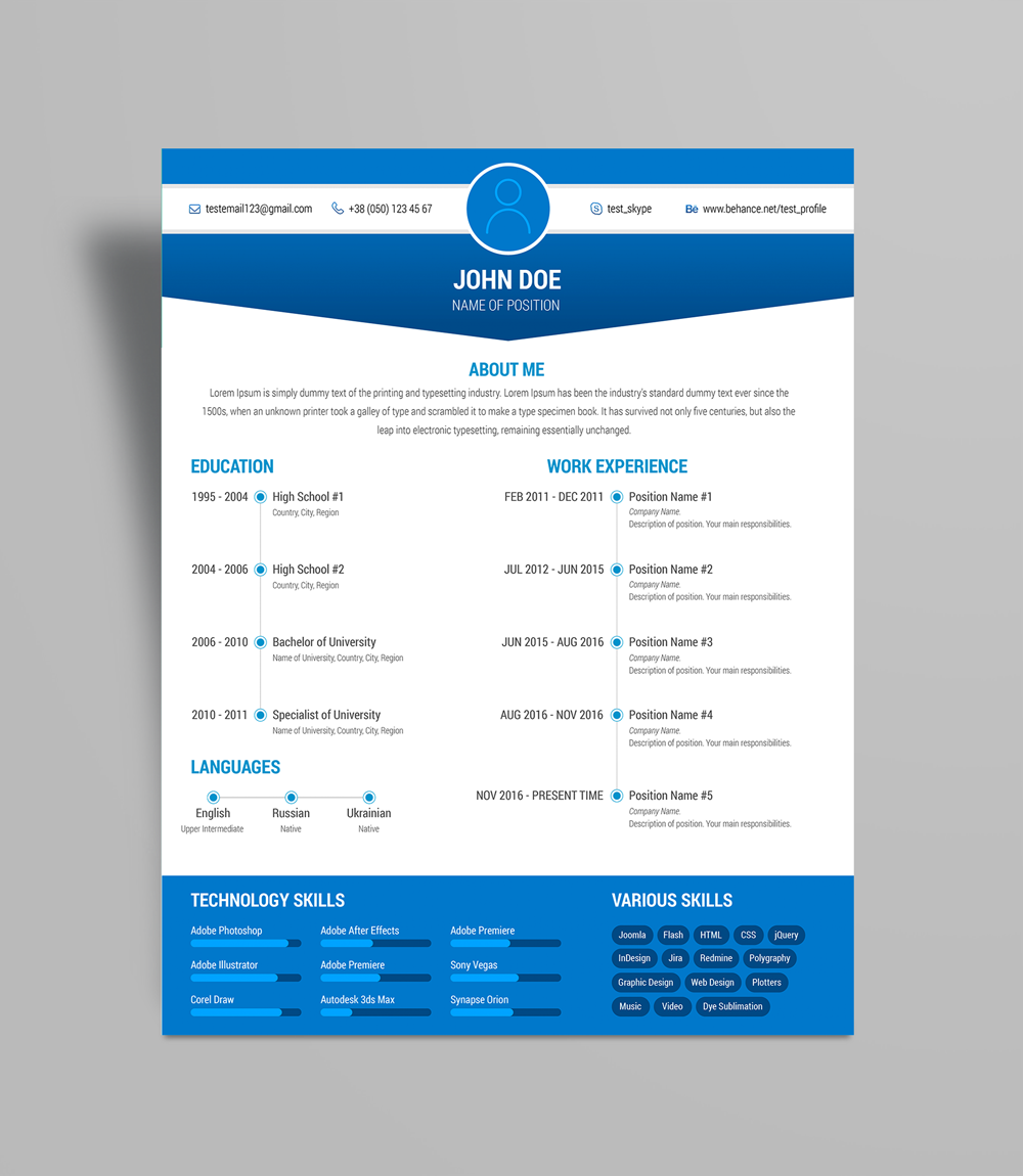 Free Simple Resume (CV) Design Template Ai File