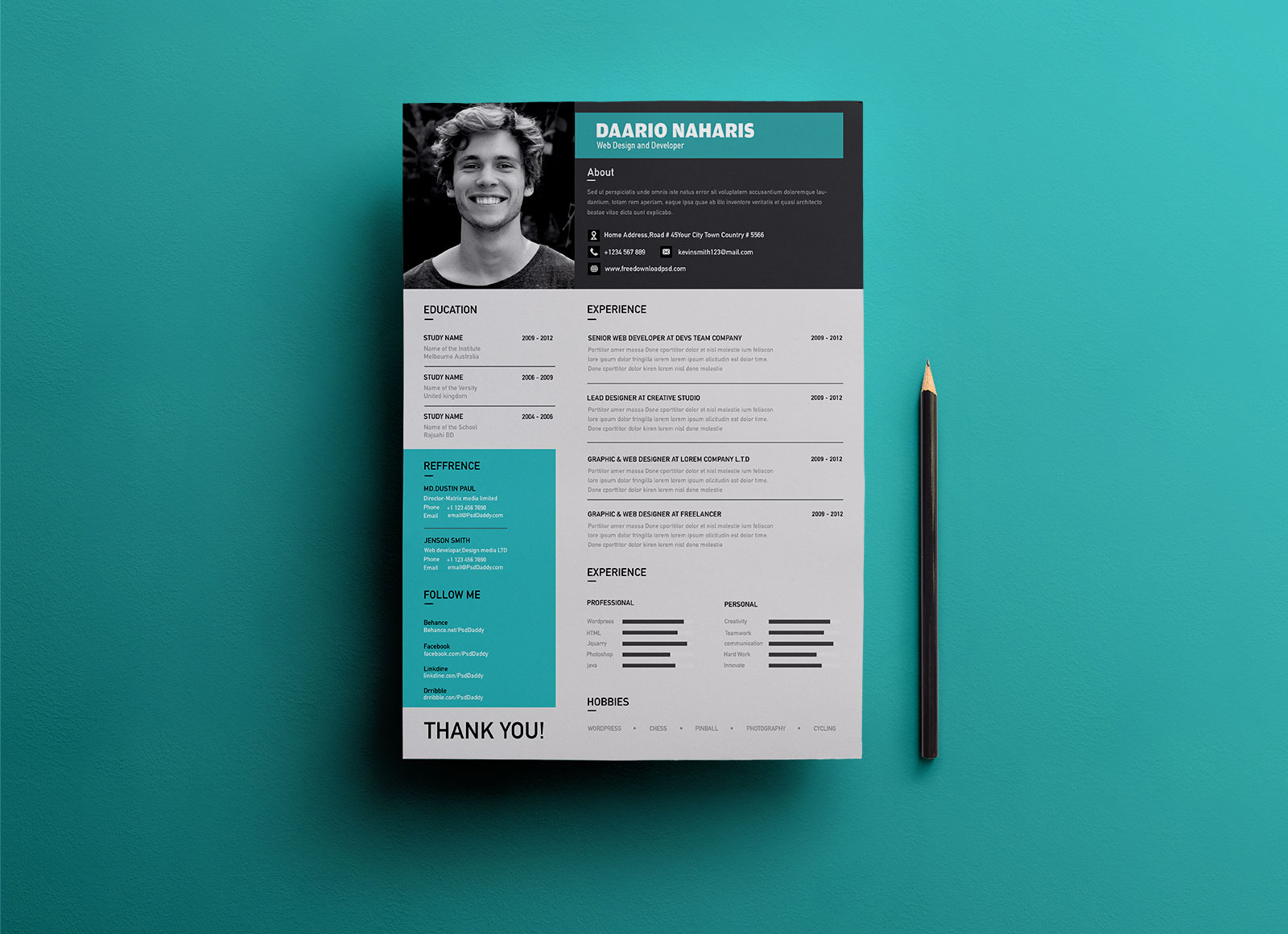 Best-Free-Modern-Resume-Template-in-PSD-Format-2 Online Letter Format Template on free personal, full block, business cover,