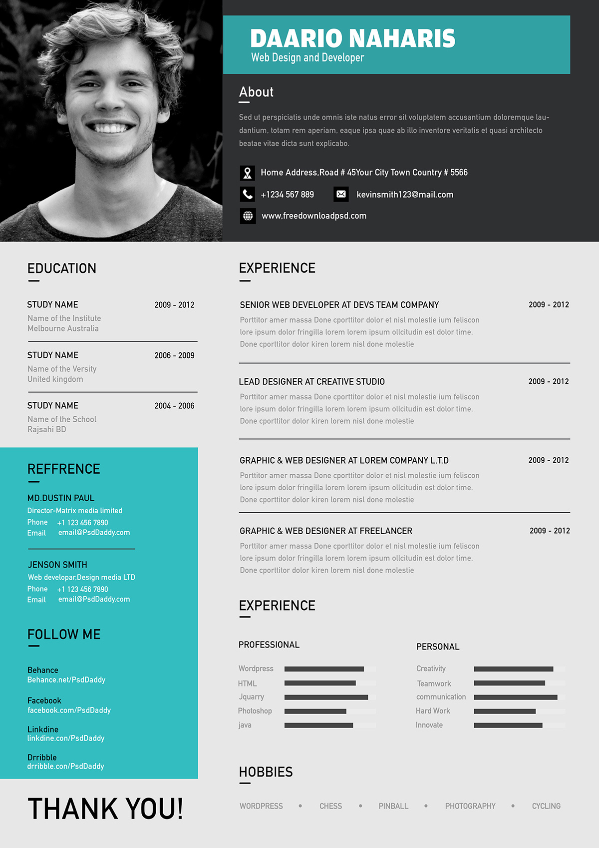 best free modern resume template in psd format