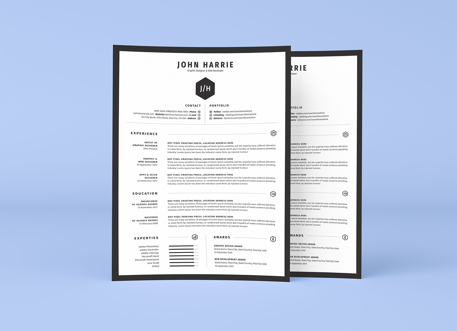 free clean resume cv  u0026 cover letter template in word  psd  u0026 ai