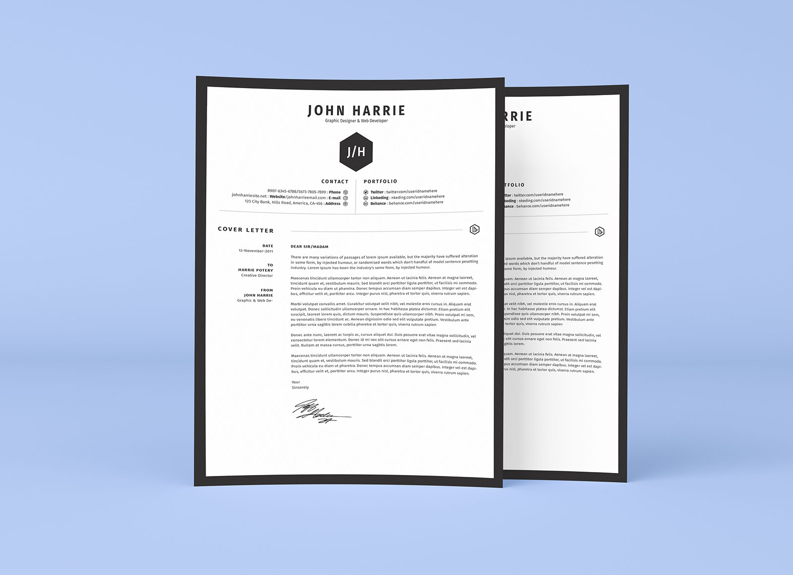 Fre-Clean-Resume-CV-+-Cover-Letter-Template-in-Word,-PSD-&-AI-2